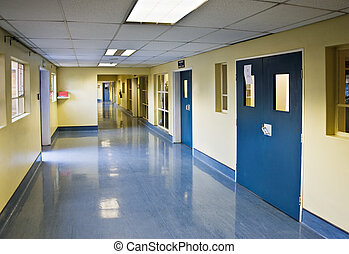 hospital hallway - different perspective of a double...