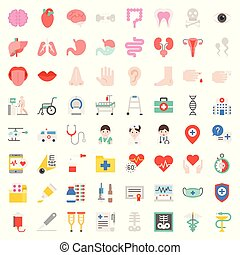 Hospital, health care and pharmaceutical related icon such as organ, certificate, x-ray film, bone fraction, doctor, injection, medicine bottle, presciption, and eye test, flat icon