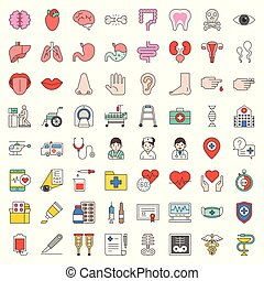Hospital, health care and pharmaceutical related icon such as organ, certificate, x-ray film, bone fraction, doctor, injection, medicine bottle, presciption, and eye test, filled icon