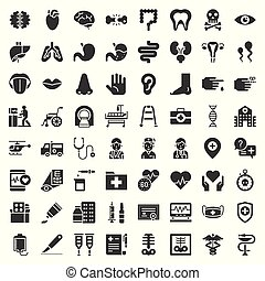 Hospital, health care and pharmaceutical related icon such as organ, certificate, x-ray film, bone fraction, doctor, injection, medicine bottle, presciption, and eye test, solid icon