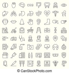 Hospital, health care and pharmaceutical related icon such as organ, certificate, x-ray film, bone fraction, doctor, injection, medicine bottle, presciption, and eye test, outline icon