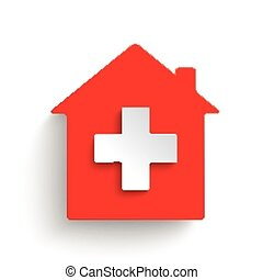 Hospital House - Red hospital on the gray background