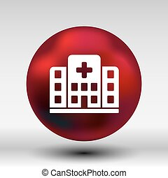 Hospital icon cross building isolated human medical view