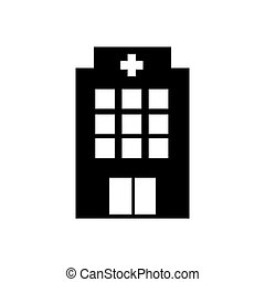 Hospital icon cross building isolated human medical view. Trendy Flat style for graphic design, logo, Web site, social media, UI