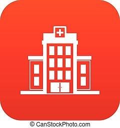 Hospital icon digital red
