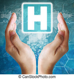 Hospital icon in hand; medical background