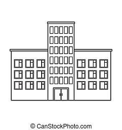 Hospital icon in outline style isolated on white background. Building symbol stock vector illustration.