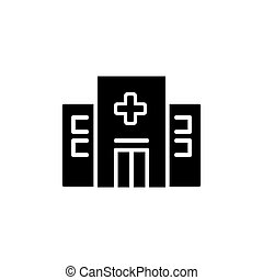 Hospital Icon isolated on white background. Modern flat pictogram, business, marketing, internet concept.