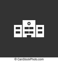 Hospital icon on a black background
