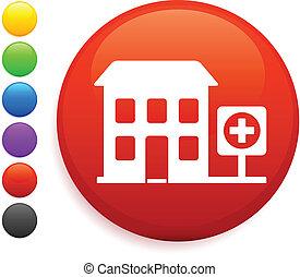 hospital icon on round internet button