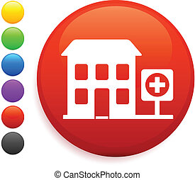 hospital icon on round internet button original vector...