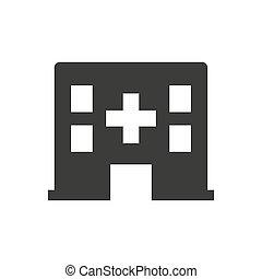 Hospital icon on white background.