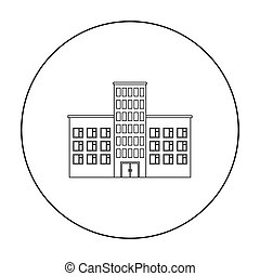 Hospital icon outline. Single building icon from the big city infrastructure outline.