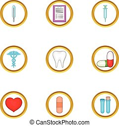 Hospital icon set, cartoon style