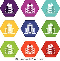 Hospital icon set color hexahedron
