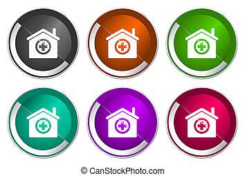 Hospital icon set, silver metallic web buttons
