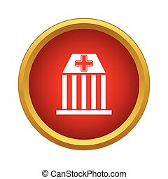 Hospital icon, simple style