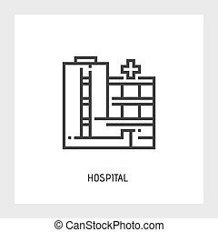 Hospital icon. Vector illustration. Flat.