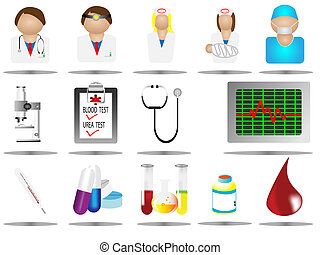 hospital icons, medical care icon set, vector illustration, ...
