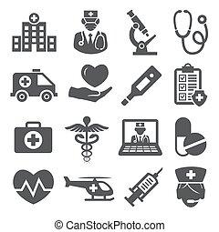 Hospital icons set on white background