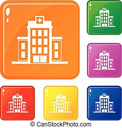Hospital icons set vector color