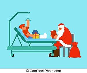 hospital., leg., garçon, hôpital, claus, gift., visites, bed., cassé, lit, livre, grand-père, santa, garderie, monde médical, noël, donne