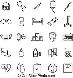 Hospital line icons on white background