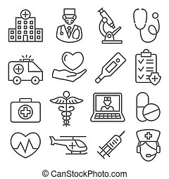 Hospital line icons set on white background