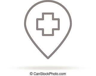 Hospital Location Icon In Trendy Thin Line Style Isolated On White Background. Medical Symbol For Your Design, Apps, Logo, UI. Vector Illustration.