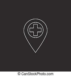 hospital location line icon, outline vector logo illustration, l