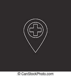 hospital location line icon, outline vector logo illustration, l