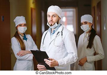 hospital., médecins, couloir, portrait