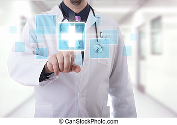Hospital - Male doctor working on a futuristic touchscreen...