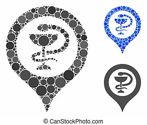 Hospital map marker Composition Icon of Circle Dots