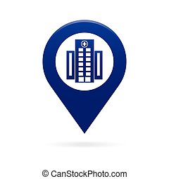 hospital map pointer icon marker GPS location flag symbol