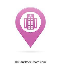 hospital map pointer icon marker GPS location flag symbol