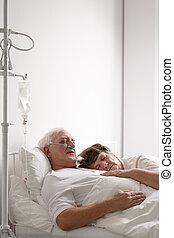hospital, marido, cama, agonizante