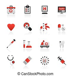 Hospital, medical and healthcare icons
