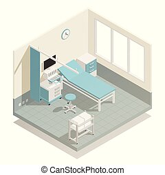 Hospital Medical Equipment Isometric Composition - Hospital...