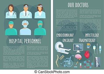 Hospital medical personnel, doctor poster design