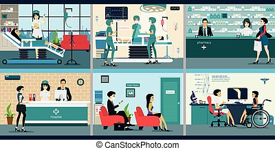 Hospital - Medical services with doctors and patients in ...