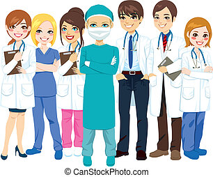 Hospital medical team group made of doctors, nurses and surgeon standing smiling with arms crossed