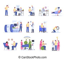 Cancer diagnostics, treatment and rehabilitation. Hospital medical therapy, male character having chemo treatment and surgery. Man win a cancer. Vector illustration in cartoon style