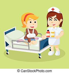 Hospital medication service cartoon illustration