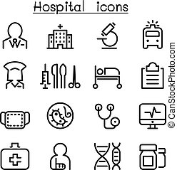 Hospital & medicine icon set in thin line style