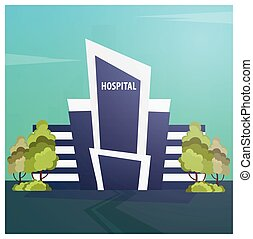 Hospital Modern building in flat style isolated on white background.