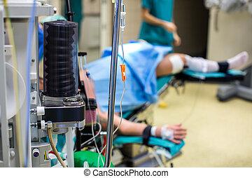 hospital, moderno, anesthesiology, durante, cirugía, unidad