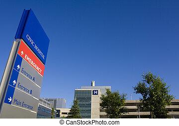 hospital, moderno, señal de emergencia