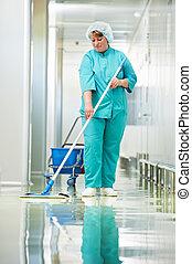 hospital, mujer, limpieza, vestíbulo