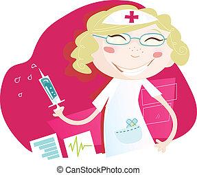 Hospital nurse - Smiling nurse helps every patient. Vector ...
